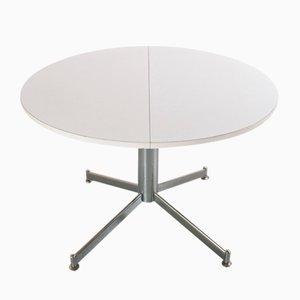 Tavolo da pranzo rotondo vintage allungabile in metallo e legno di formica
