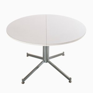 Vintage Extendable Round Dining Room Table in Metal and Formica