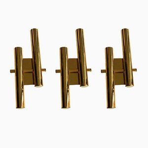 Italian Modern Brass Sconces by Gaetano Sciolari for Sciolari, 1970s, Set of 3