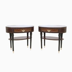 Italian Ebonized Wood Nightstands with Glass Tops, 1950s, Set of 2