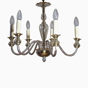 Italian 6 Arm Murano Amber Glass Chandelier, 1960s
