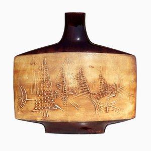 Vaso in ceramica smaltata di Gilbert Portanier per Vallaurius, anni '50