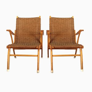 Wood & Rope Lounge Chairs by V&D, 1960s, Set of 2