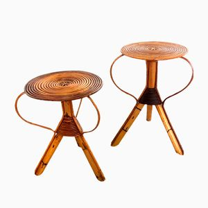 Mid-Century Rattan Side Tables, Set of 2