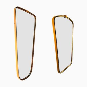 Mid-Century Brass Mirrors, Set of 2