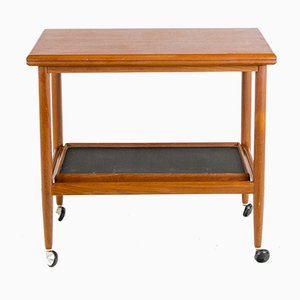Teak Trolley with Removable Tray & Foldable Tabletop from Dyrlund, 1950s