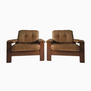 Danish Vintage Armchair in Solid Oak & Leather, 1970s, Set of 2