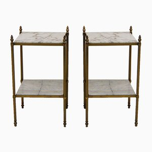 Sidetables in Gilt Brass from Maison Bagues, Set of 2