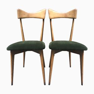 Chairs with Green Velvet Seat from Ariberto Colombo, 1950s, Set of 2