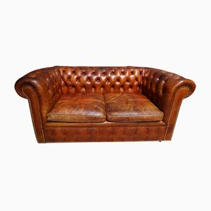 Mid-Century Cognac Leather 2-Seater Chesterfield Sofa