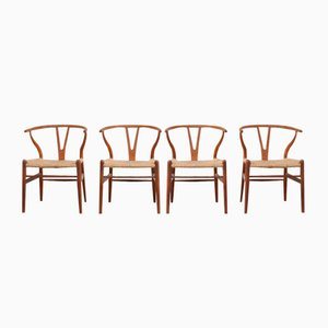 Vintage Wishbone Chairs by Hans J. Wegner for Carl Hansen, Set of 4