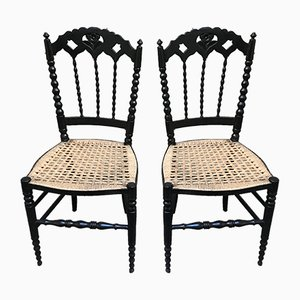 Small Vintage Black Lacquered Wood Chairs, Set of 2