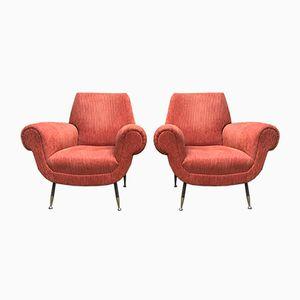 Vintage Orange Corduroy Armchairs, Set of 2
