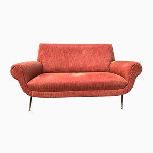 Vintage Orange Ribbed Velvet Sofa