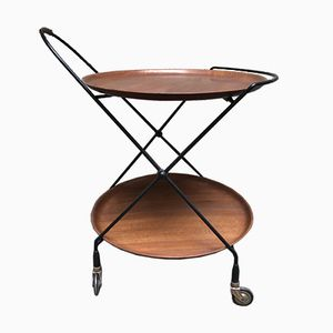 Vintage Trolley in Teak and Black Painted Iron from Isa