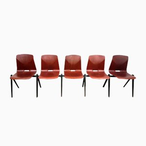 Model S22 Industrial Stacking Chairs from Galvanitas, 1960s, Set of 5