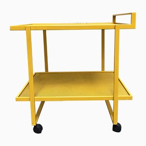 Vintage Yellow Painted Metal Serving Cart