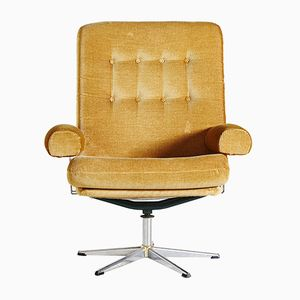 Danish Corduroy Swivel Armchair, 1960s