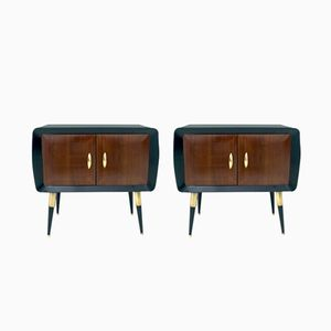 Pair of Mahogany Nightstands with Black-Painted Glass Tops, 1950s