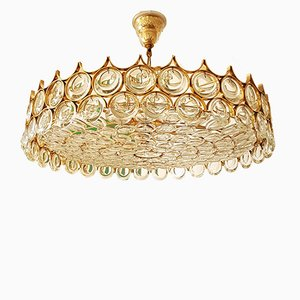Large Crystal & Brass Chandelier by Gaetano Sciolari, 1960s