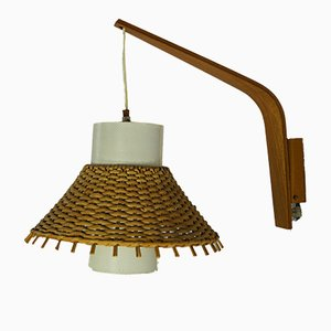 Mid-Century Teak & Rattan Wall Lamp, 1960s