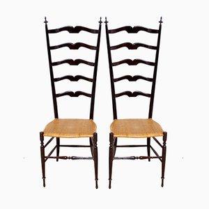 Chiavari High-Back Chairs by Giuseppe Gaetano Descalzi, 1950s, Set of 2