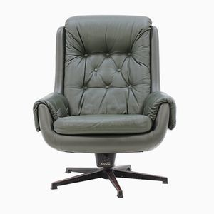 Finnish Mid-Century Leather Swivel Chair from Peem
