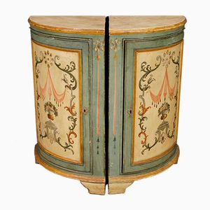 Vintage Italian Painted Corner Cupboard, Set of 2