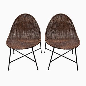 Wicker & Iron Side Chairs, 1950s, Set of 2
