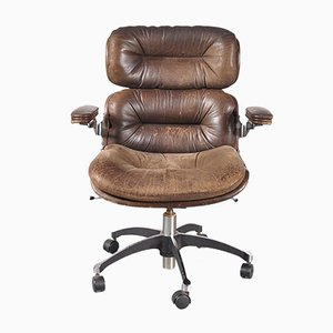Brown Leather Desk Chair, 1960s