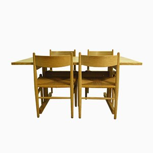 Vintage CH 36 Chairs & Shaker Table by Hans J. Wegner for Carl Hansen & Andreas Tuck, 1973