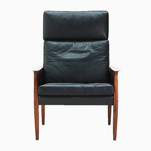 Leather Lounge Chair with Rosewood Base by Hans Olsen for Juul Kristensen, 1960s