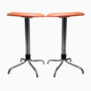 Orangefarbene industrielle Hocker von Brabantia, 1960er, 2er Set