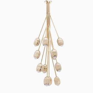 Poppy V. Chandelier in Lost Wax Cast Brass with 12 Stems by Fred&Juul