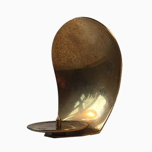 Concave Brass Wall Candle Holder from Dantorp Design, 1960s