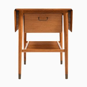 Mid-Century Danish Teak & Oak Sewing Table