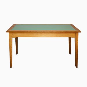 Mid-Century Dining Table with Lime Green Glass Top