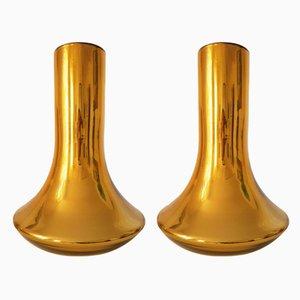 Large Gold Murano Glass Vases, 1980s, Set of 2