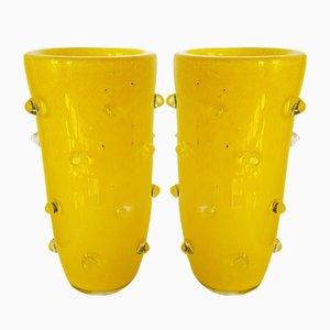 Yellow Murano Glass Vases, 1980s, Set of 2