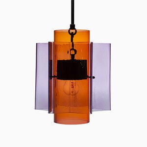 Petrona Star-Shaped Pendant Light in Purple and Red Mouthblown Glass by Fred&Juul