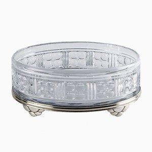 Scodella Art Déco in cristallo con base in argento di Val-Saint-Lambert & Delheid, Belgio