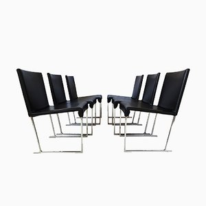 Maxalto Solo Dining Chairs in Black Leather by Antonio Citterio for B&B Italia, 2006, Set of 6