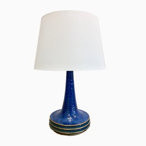 Mid-Century Danish Blue Ceramic Table Lamp by Axella for Tromborg, 1970s