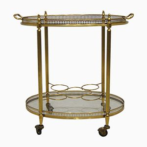 French Gilded Brass Bar Cart from Maison Bagues, 1950s