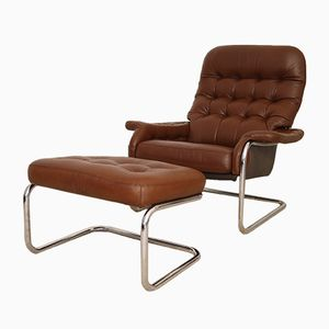 Vintage Leather Lounge Chair with Ottoman from Dux