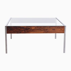 Vintage Minimalist Rosewood & Chrome Coffee Table