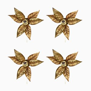 Hollywood Regency Floral Brass Wall Lights by Massive, 1970s, Set of 4