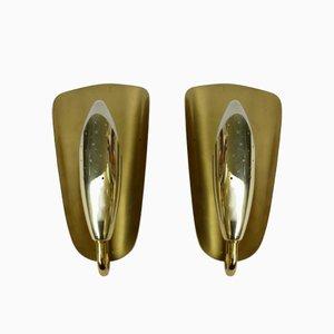 Brass Wall Lights, 1950s, Set of 2