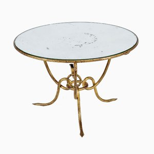 Hollywood Regency Gilt Iron Table with Mirrored Top by René Drouet