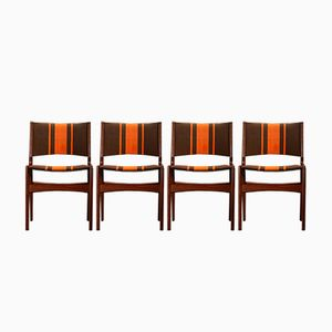 Vintage Chairs with Orange Stripes, Set of 4